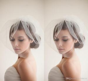 New Designer Popular Birdcage Veils Face Short White Wedding Veils Cheap Simple Elaborate Reticolato Veli da sposa con accessori da sposa