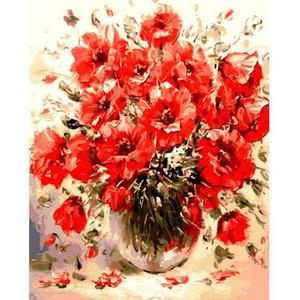 1 PC DIY Peinture À L'huile Par Nombres Abstraites Fleurs Rouges Mur Photos Pour Salon Vintage Home Decor Coloriage Par Nombres