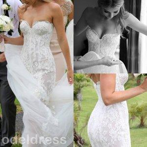 2019 New Mermaid Lace Country Wedding Dresses Sweetheart Pearls Backless Court Train Elegant Steven Khalil Beach Boho Bridal Gowns Custom