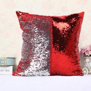 Reversible Lentejuela Sirena Satén Pillowslip Throw Pillow Cojín Cubierta Decoración Del Hogar Del Coche Sofá Cama Decoración Decorativa Funda de Almohada