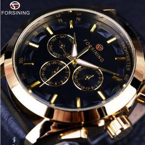 Forsining negócio time series pulseira de couro genuíno preto 3 de discagem 6 mãos homens relógios top marca de luxo relógio automático relógio homens
