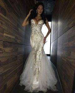 2018 Luxury Bling Sparkle Vestidos de baile Mermaid White Profundo escote en v Abalorios Cristal largo de tul Vestido de fiesta Vestido de noche