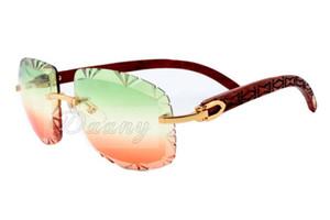 nouvelles lunettes de soleil sculptés à la main des lunettes naturelles des lunettes de soleil de motif, les jambes de miroir de haute qualité bois d'or mode 8300075 taille gravé: 60-18-13 Odrt