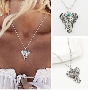 Collana donna Boho Vintage Lucky Elephant Collana con pendente Turquoie Colar Everyday Fashion Donna Gioielli per ragazza regalo