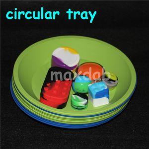 "Bandeja de silicone circular colorido quente Prato Profundo Pote Redondo 8 ""X8"" Non Stick Silicone Recipientes Óleo Concentrado BHO fda bandeja de silicone livre dhl"