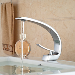 Wholesale- Unique Design Deck Mount Full Brass Bathroom Basin Faucet Single Handle Mixer Taps Chrome Finished
