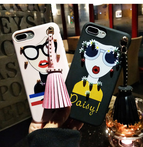 Art- und Weisegöttin-Niet-Quaste 3D weiches TPU koreanischer Art-Telefon-Kasten-Sonnenbrille-Silikon-neueste rückseitige Abdeckung Shell für iphone 7 für iphone 6 plus