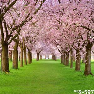 5x7ft vinil sakura árvore primavera campo de grama fotografia estúdio fundo backdrop