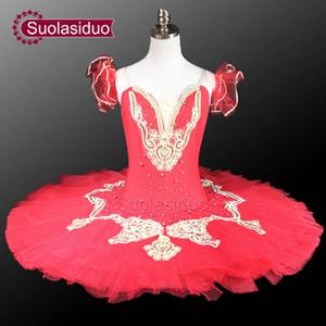 Gilr Красный балет пачка сценический костюм Классический балет пачка профессиональные балетные костюмы пачка танцевальные костюмы SD0011