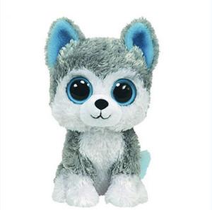 Venta al por mayor- 1pc18cm Venta caliente Beanie Boos Big Eyes Husky Perro de peluche de juguete muñeca de peluche Animal lindo de peluche de juguete para niños