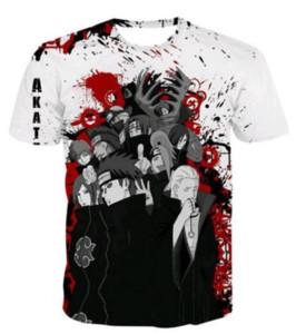 Nova Moda Verão Homens / Mulheres Anime Naruto Akatsuki Estilo Harajuku Engraçado 3d Impressão Casual T-shirt S-5XL H139