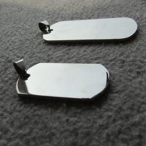 Venta al por mayor en blanco de acero inoxidable del ejército militar etiquetas para perros superficie del espejo grabable por láser hombres colgantes para niños