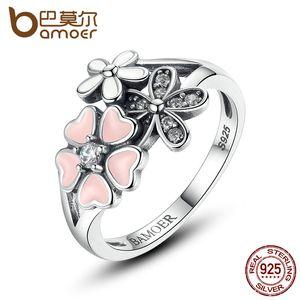 925 Sterling Silver Pink Flor Anel de Dedo para As Mulheres Poetic Daisy Cherry Blossom Anel de Noivado Moda Jóias SCR004