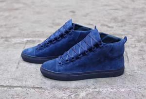 Moda cinza azul camurça arena sneaker sapatos genuíno couro casual mulheres / homens zapatos hombre estilo francês kanye west treinadores sapatos eu35-47