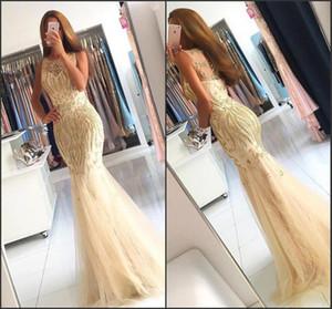 Luxus Champagne Mermaid Abendkleider 2018 Sheer Bateau Neck mit Perlen Kristall Bodenlangen Lange Prom Party Kleider Pageant Wear BA6133