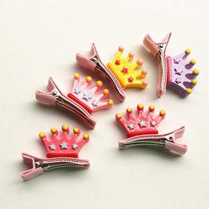 2017 New Baby forcine 16pairs / lot acrilico principessa Crown carino clip di capelli dei capretti bambini tornante all'ingrosso Mini Cartton Principessa Crown