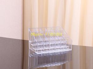 60 unids / lote envío rápido 24 soporte de exhibición del sostenedor de la barra de labios Acrílico transparente Organizador cosmético Maquillaje Caso Caja de almacenamiento de almacenamiento de almacenamiento de varios