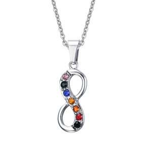 Бесконечная любовь 8 Shaped подвеска для женщин мужчины из нержавеющей стали бесконечность гей-прайд ожерелье бесплатная цепь женщины ювелирные изделия PN-559