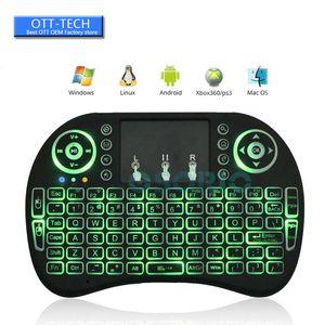 Rii I8 2.4GHz Mini Tastiere Wireless Multi-color Backlit Fly Mouse Telecomando Gaming Mouse palmare per S905X S912 Android Box MXQ X96