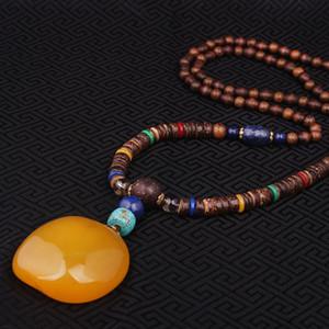 All'ingrosso-moda Evade Peace High imitazione beewax collana etnica giallo, Nepal gioielli fatti a mano sandali lunghi collana vintage