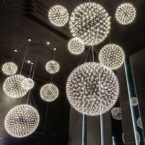 Moderna sala de estar lámpara colgante luz bola de acero inoxidable led araña fuego artificial luz restaurante villa hotel proyecto iluminación colgante