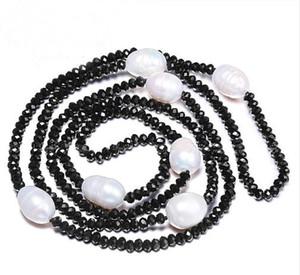 JLN Sweater Chain 11-12MM Perla de arroz de agua dulce natural 4mm Cristal Blanco Negro Joyas 90cm Collar largo de perlas