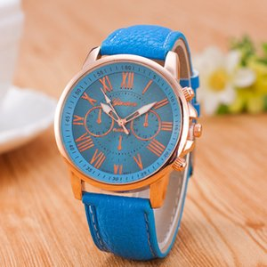 Free shipping wholesale popular geneva leather candy watches unisex mens womens ladies colorful rose-gold dress quartz watches