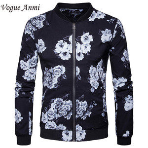 Atacado- Vogue Anmi 2017 Jacket Primavera Mens New Black Flower 3D Impresso Moda Jacket Men Slim Fit Homens jaquetas e casacos Europa Tamanho