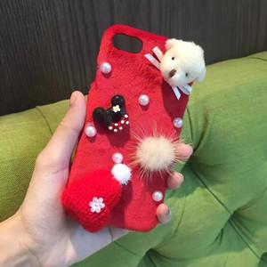 Cute adorable perro sombrero juguetes de felpa casos de teléfono celular para el iPhone 6 6S 6plus bolsa de teléfono para el iPhone 7 7plus de la cubierta de