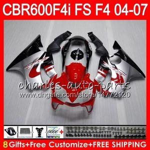 8Gifts 23Colors für HONDA CBR 600 F4i CBR600F4i 04 05 06 07 AAHM20 Red Silber CBR600FS FS CBR600 F4i CBR 600F4i 2004 2005 2006 2007 Verkleidungs