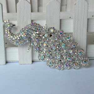 Wholesale- Lager Silver Crystal AB Rhinestone Brooch Big Peacock Brooches For Women Wedding Bouquets Clip Scarf Buckle Hijab Pins 09014