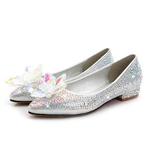 سندريلا مستوحاة الأمومة أحذية الزفاف 2017 الشقق flatforms حزب مساء أحذية لل نساء الحوامل بلينغ بلينغ زائد حجم صغير