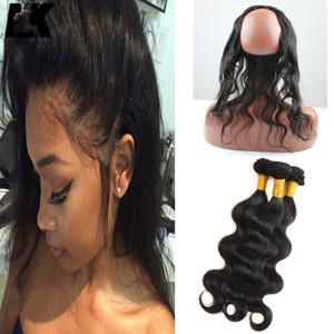 """4 пакета 200 г с 360 фронтальными 22х2 """"бразильские волосы кружева лобное закрытие предварительно выбованные 360 фронтальные с пучками"""