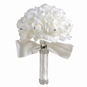 Venta al por mayor Ramo de novia Blanco Dama de honor Artificial Flores nupciales Ramos con cristales Cintas de colores Artificial Rosa Flores Boda