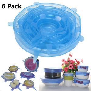 Крышки простирания силикона, 6-Pack различных размеров