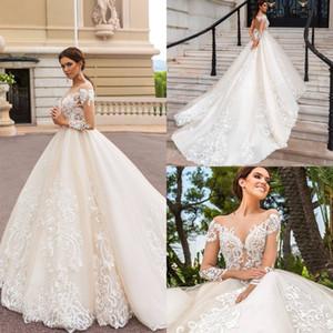 New Modern Glamorous Sheer Girocollo Abiti da sposa Illusion Lace maniche lunghe Sexy Backless A Line Abiti da sposa