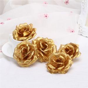 "Oro plata tela artificial Rose Heads 100 unids diámetro 8 cm / 3.15 ""Fake Rose cabezas de flores para la boda de la fiesta de Navidad flor decorativa"