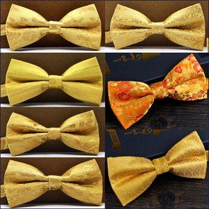 Бесплатная доставка Paisley Цветочные Твердые Stripes Золото Желтый Мужские Предварительно связали смокинг Bow Tie Handkerchief 100% Silk регулируемый оптом Handmade Новый