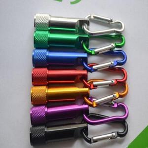Hot Mini LED linterna antorcha de aleación de aluminio con anillo de mosquetón llaveros llaveros deporte mini led linternas llavero al por mayor A-101