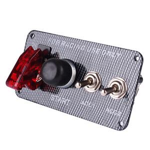 3061 Yarış Tarzı Araba 12 V Kontak Anahtarı Motor Çalıştırma Push Button Gösterge Işığı ile 3 Geçiş Paneli DIY Araba Modifikasyonu Aksesuar