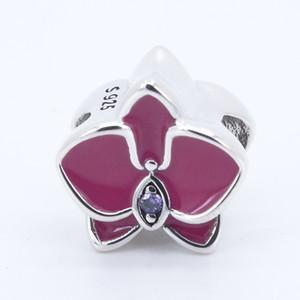 Orchid Radiant Orchid Enamel Purple CZ 2017 D'été 100% 925 Sterling Silver Bead Fit Pandora Bracelet Authentique Charme De Mode Bijoux