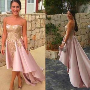 2017 арабский розовый Пром платья с золотой аппликация линия без бретелек атласная скромный вечернее платье высокий низкий уникальный вечернее платье