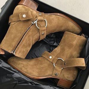 Tan / Schwarz Veloursleder Ketten Harness Herren Boots Stacked Heel Anke Stiefel-Seiten-Reißverschluss-Mann-Mode Chelse Stiefel Herren Schuhe