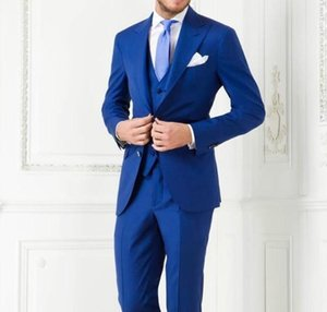 Wholesale- Fashion Style Two Button Royal Blue Groom Tuxedos Groomsmen Mens Wedding Suits Prom Bridegroom (Jacket+Pants+Vest+Tie)