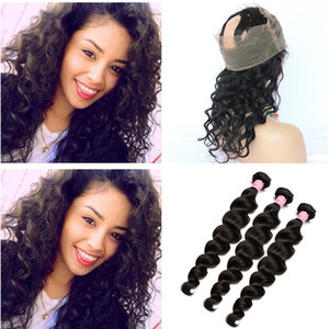 8A Peruvian Loose Wave Human Hair Weave With 360 Lace Frontal Closure 360 Full Lace Closure With 3 Bundles Loose Deep Wave Hair