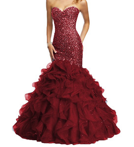 2019 Burgundy Long Prom Dresses Mermaid Beaded Crystal Organza Ruffles Sweetheart Lace-up Backless Custom Made Bling Pageant Evening Gowns