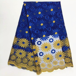 5 Yards pc New fashion royal blue and gold flower design french net lace fabric african mesh lace for party clothes BN53-4