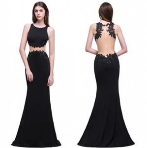 재고 있음 Black Prom Dresses 리얼 픽쳐스 2017 Mermaid Sheer Backless Beaded Long Party 저녁 의상 가운 무료 배송