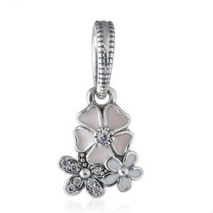 Nova Coleção Autêntica 925 Sterling Silver Poetic Bloom Esmalte Flor Dangle Encantos Fit Beads Pulseiras DIY Fine Jewelry Making HB632
