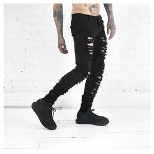 Gros-2016 nouveaux jeans hommes jeans déchirés pour un jean slim noir hip motard Distressed design mince hommes hop